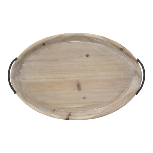 Stratton Home Decor Natural Wood Oval Tray