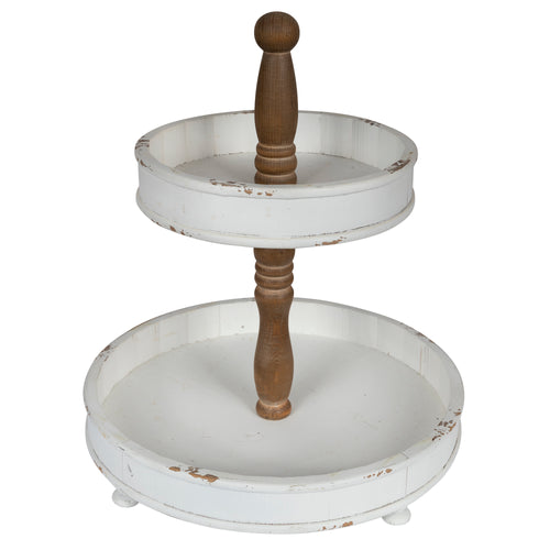 Stratton Home Decor 2-tier Round White and Natural Wood Tray