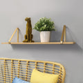 Stratton Home Decor Gold Metal and Natural Wood Shelf