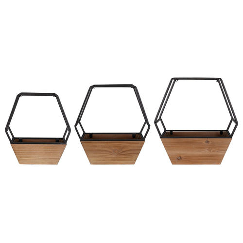 Stratton Home Decor Set of 3 Wood and Metal Hexagon Wall Planters
