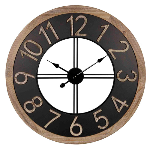 Stratton Home Decor Harold Wood and Metal Wall Clock