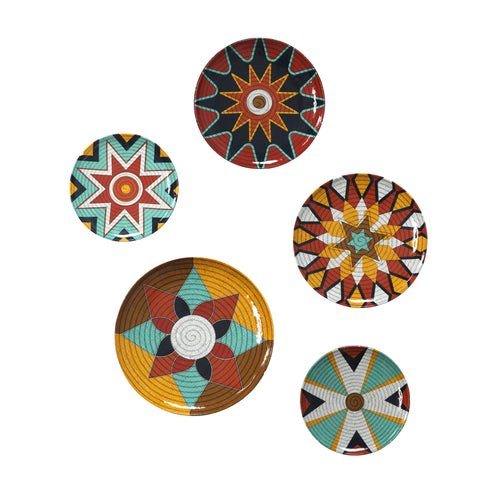 Stratton Home Decor Set of 5 Raffia Inspired Metal Plates