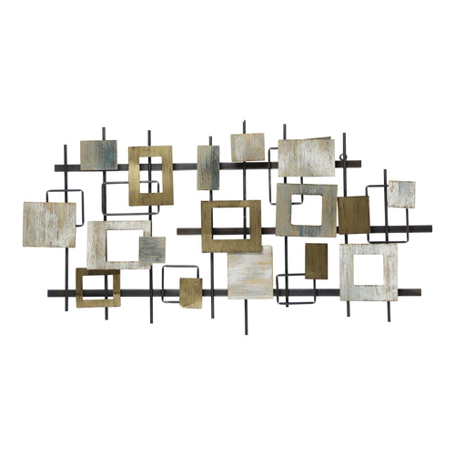 Stratton Home Decor Wood and Metal Modern Shapes Wall Centerpiece
