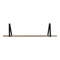 Stratton Home Decor Black Metal and Natural Wood Shelf