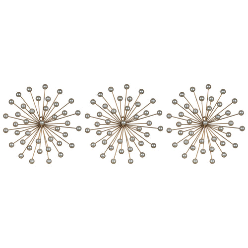 Stratton Home Decor Set of 3 Pearl Bursts Wall Decor