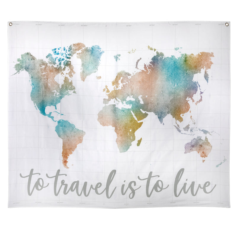 Stratton Home Decor To Travel Is To Live Watercolor Map Wall Tapestry