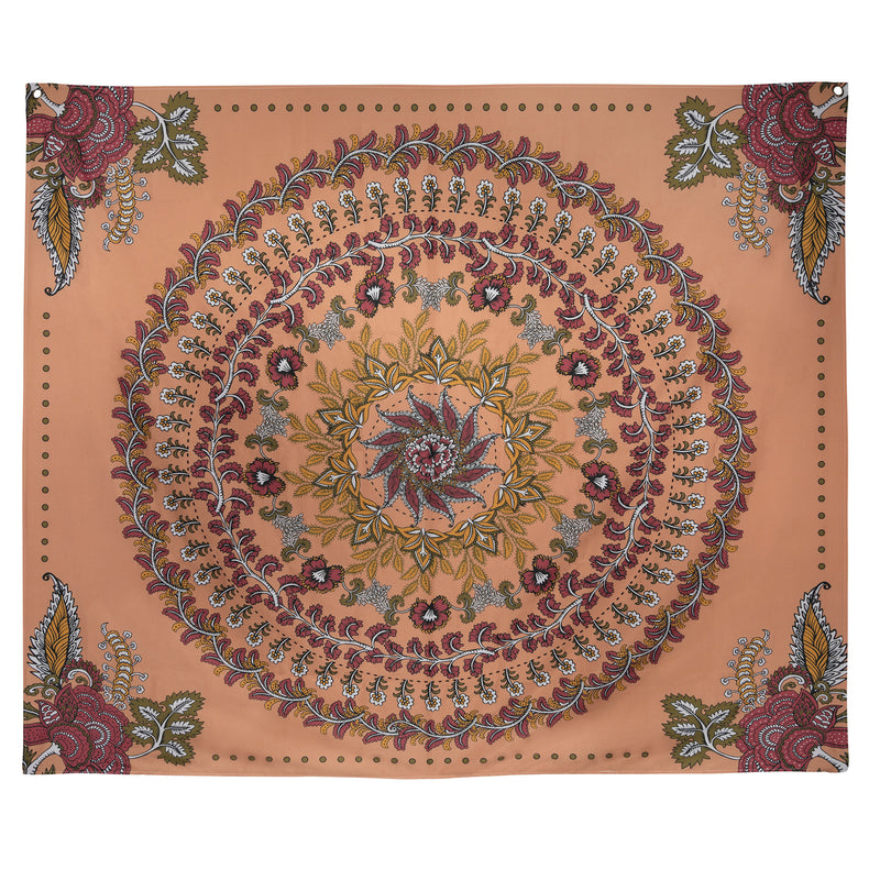 Stratton Home Decor Terracotta Floral Medallion Wall Tapestry