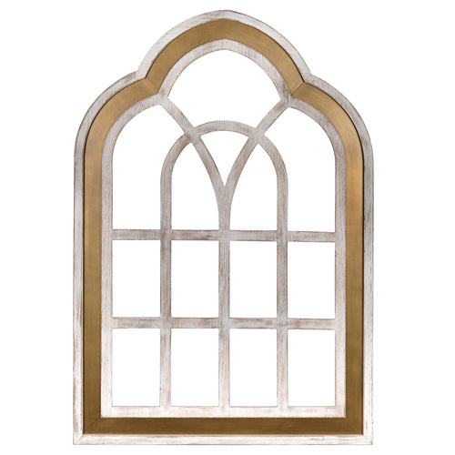 Stratton Home Decor Gold and White Window Panel Wall Decor