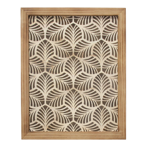Stratton Home Decor Framed Wood Leaf Pattern Wall art