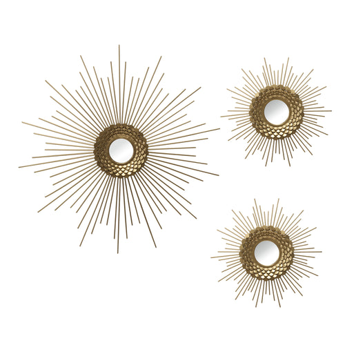 Stratton Home Decor Set of 3 Gold Starburst Wall Mirrors