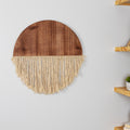 Stratton Home Decor Half Circle Wood Macrame Wall Decor