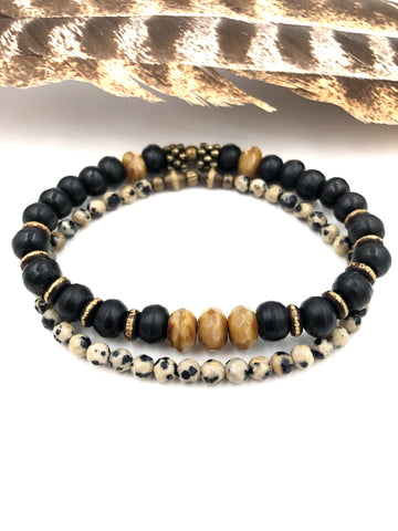 B03 - Men's Bone & Dalmation Jasper Bracelet Stack