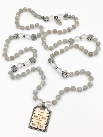 KM82 - Labradorite & Quartz Crystal Carved Bone & Pave White Topaz Double Happiness Mala