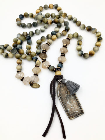 KM83 -  Golden Tiger Eye & Rutilated Quartz Buddha Mala