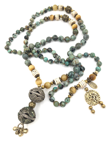 KM84 - African Turquoise, Golden Tiger Eye & Ostrich Bone Old Kuchi Tribal Bead Tassel Mala
