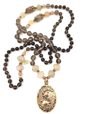KM85 - Smoky Quartz, Rutilated Quartz, & Rose Quartz Raw Bronze Twin Fish Mala