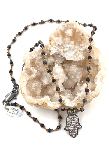 N15 - Spinel, Pyrite, & Pave White Topaz Hamsa Necklace