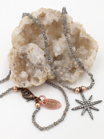 N26 - Mystic Labradorite & Pave White Topaz Star Necklace