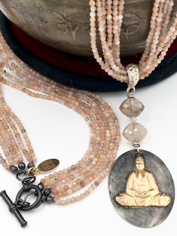 N30 - One-of-a-Kind Peach Moonstone & Rutilated Quartz Buddha Necklace