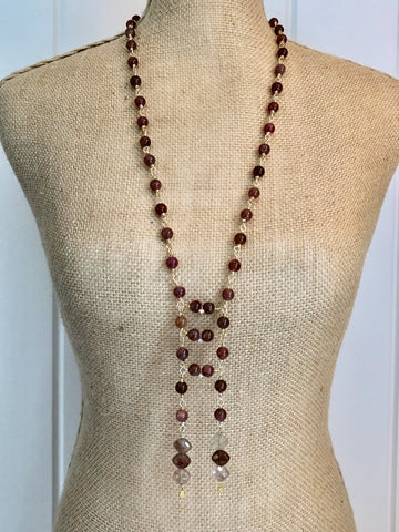 N34 - Pink Tourmaline Handcrafted Beaded Chain Ladder Necklace with Rutilated Quartz