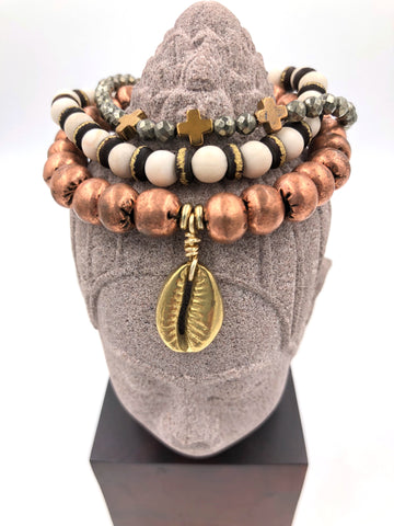SB02 - Tribal Copper, Riverstone Jasper, & Pyrite Bracelet Stack