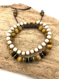SB03 - Men's Golden Tiger Eye & Riverstone Jasper Stack