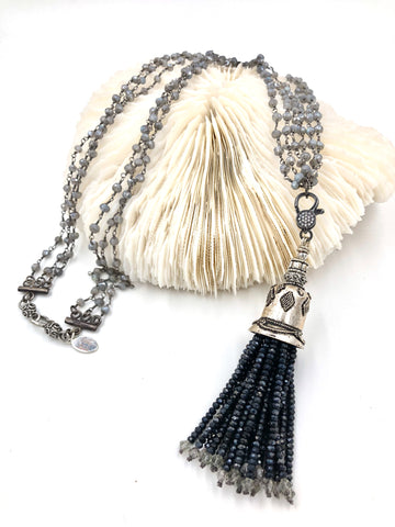 T07 - One-of-a-Kind Handmade Spinel Tassel & Labradorite Necklace