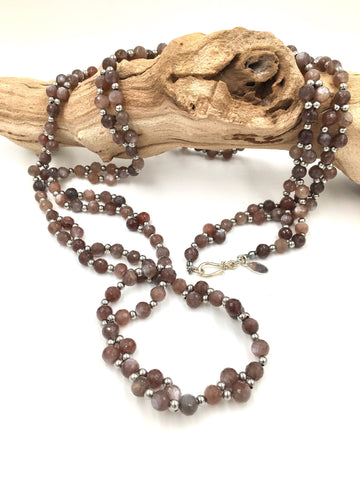 TN1 - One-of-a-Kind Chocolate Moonstone Tantric Necklace