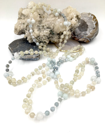 TN2 - One-of-a-Kind Corundum, Aquamarine, & Quartz Crystal Tantric Necklace