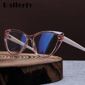 Ralferty Quality TR90 Glasses Frame Female Prescription Glasses Transparent Red Blue Light Glasses With Spring NO Grade Glasses