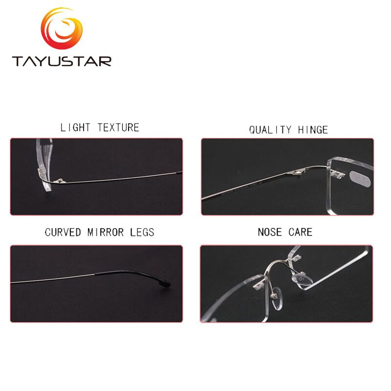 Titanium alloy glasses frame Rimless eyeglasses myopia Prescription eyeglasses men women myopia glasses reading glasses