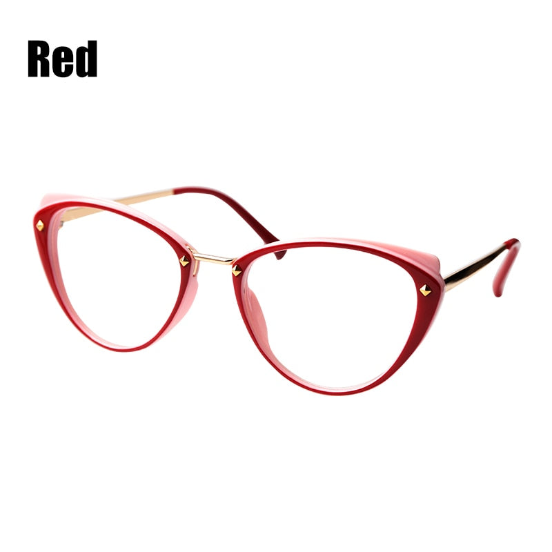SOOLALA Anti Blue Light Cat Eye Alloy Reading Glasses Womens Clear Lens Eyewear Presbyopia 0.5 0.75 1.25 1.5 1.75 to 5.0