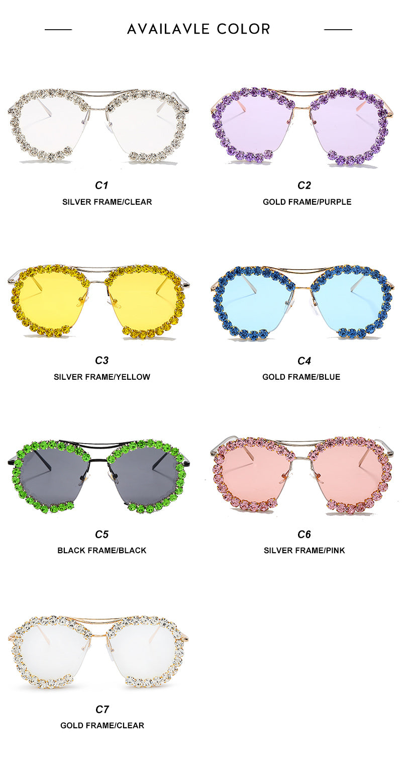 Women's Sunglasses Oversized Diamond Vintage Retro Metal Clear Lens Round GVD2088lq Ships From The USA
