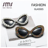 Women's Sunglasses Colorful Oversized Cat Eye Vintage Pearl Rhinestone One Piece Punk GVA9801931 Ships From The USA