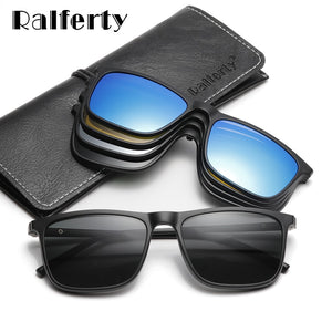 Ralferty Magnetic Sunglasses Men 5 In 1 Polarized Clip On Women Square Sunglases Ultra-Light Night Vision Glasses A8804