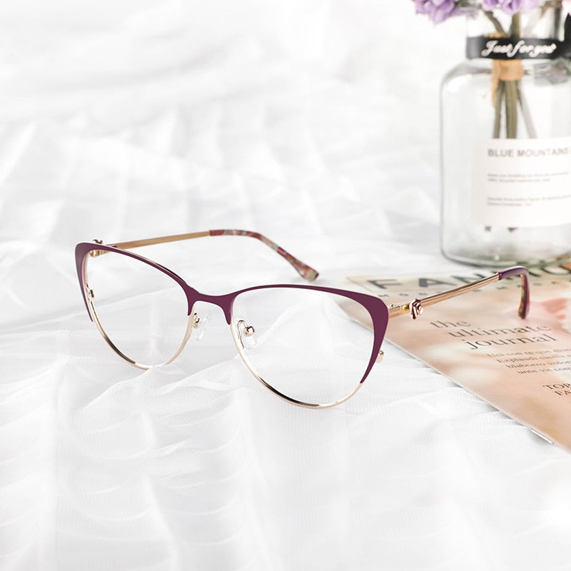Brucken Metal Women Metal Glasses Frame Cat Eye Glasses Women Myopia Optical Clear Eyeglasses Frame 8045