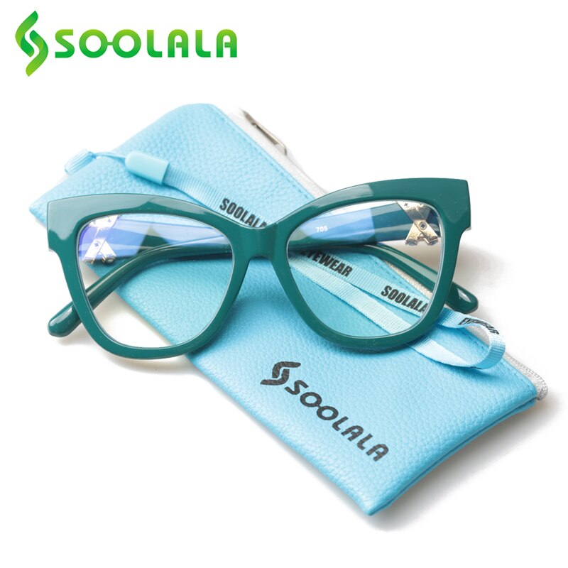 SOOLALA Anti Blue Light Cat Eye Reading Glasses Women With Crossed Rhinestone Eyeglass Frame Prescription 0.5 To 4.0