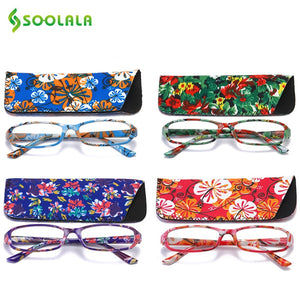 SOOLALA Printed Reading Glasses w/ Matching Pouch Spring Hinge Rectangular Presbyopic Glasses with Cases +1.0 1.5 1.75 to 4.0