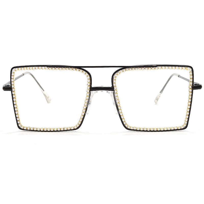 Women's Eyeglasses Vintage Square Diamond Frames Gold Glasses Pearl Frame Clear Lens Retro GVB6016LQ Ships From The USA