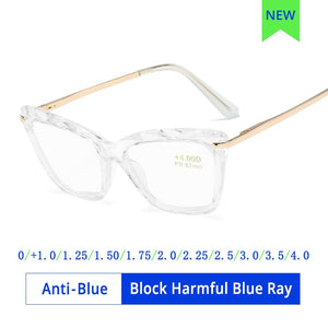 Ralferty Women's Reading Glasses Anti Blue Light Cat Eye Presbyopic Hyperopia +1.0 +1.5 +2.5