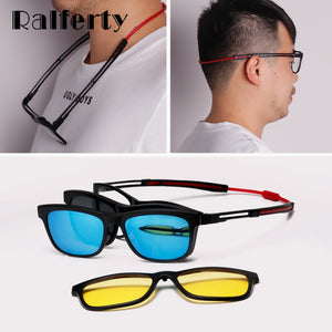 Ralferty Anti Slip Prescription Sunglasses Men Clip On Glasses Frame Sport Optic Anti Blue Adjustable Hanging Neck Eyeglasses