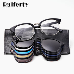 Ralferty Magnet Sunglasses Men Women Luxury Brand Polarized UV400 High Quality 5 in 1 Clip On Grade Glasses Frame