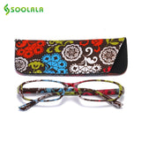 SOOLALA 4pcs Womens Reading Glasses Spring Hinge Rectangular Printed Reading Glasses W/ Matching Pouch +1.0 1.5 1.75 2.25 To 4.0