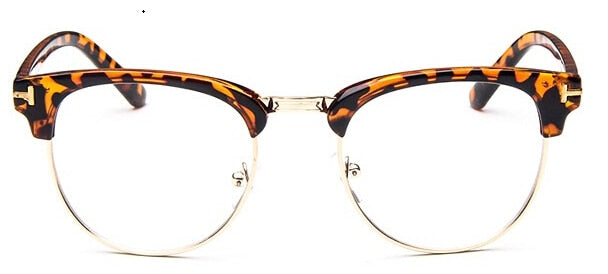 Red Bean Brand Half Metal Women Glasses Frame Men Eyeglasses Frame Vintage Square Optical Spectacle