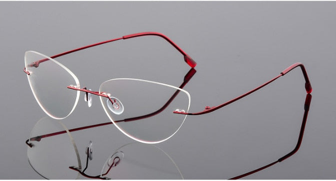 Women's  Eyeglasses Cat Eye Titanium Rimless Reading Glasses Ultra-light Alloy Presbyopic Glasses +0.50 To +6.00