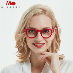 Meeshow Retro Reading Glasses Women Red Eye Glasses With Diopter French 1513 +1.5 +2.0 +2.5