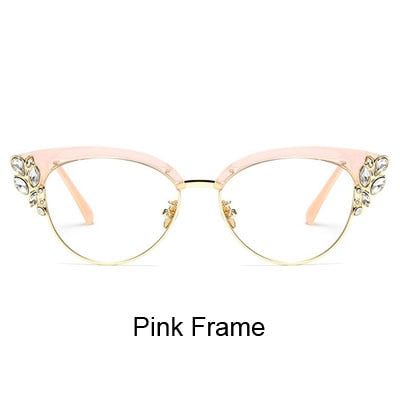 Ralferty Royal Cat Eye Glasses Frames Women Rhinestone Frame Black Vintage Eyewear F97329