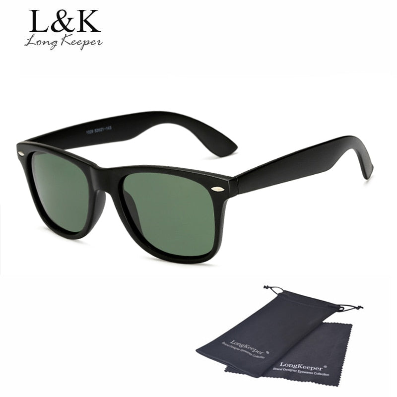 Long Keeper Brand Unisex Retro Polarized Sunglasses Men Women Vintage Eyewear Accessories Black Grey