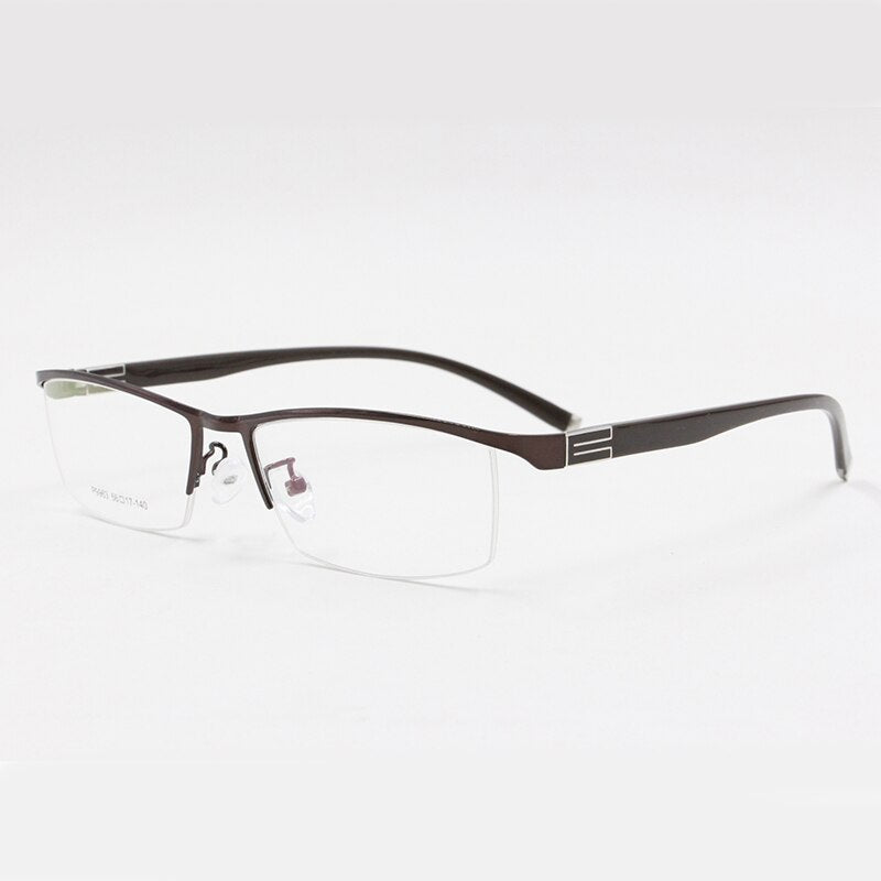 BCLEAR Titanium Alloy Front Rim Eyeglasses Half Frame Flexible Temple Arms Semi-Rimless Glasses Frame Casual Spectacle Frames
