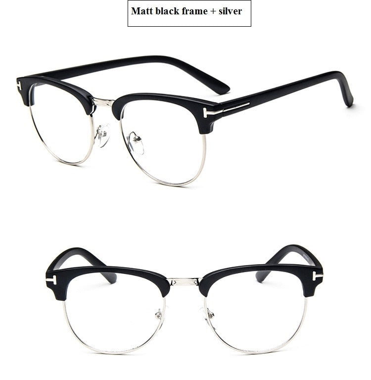 2019 Half Metal Women Glasses Frame Men Eyeglasses Frame Vintage SquareClear Glasses Optical Spectacle Frame spectacles